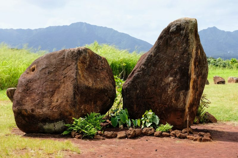 This is the gate marker for Kukaniloko. When you see these 2 stones, you'll know you're close.
