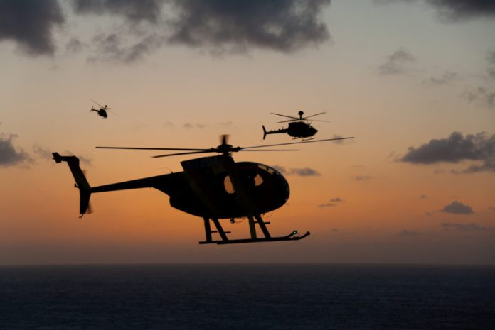 Helicopters in the Hawaii sunset.