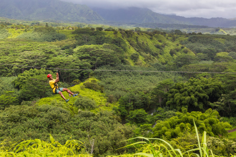 Look at that view while ziplining in Hawaii.