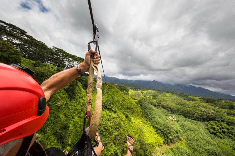 Zooming down while ziplining in Hawaii.