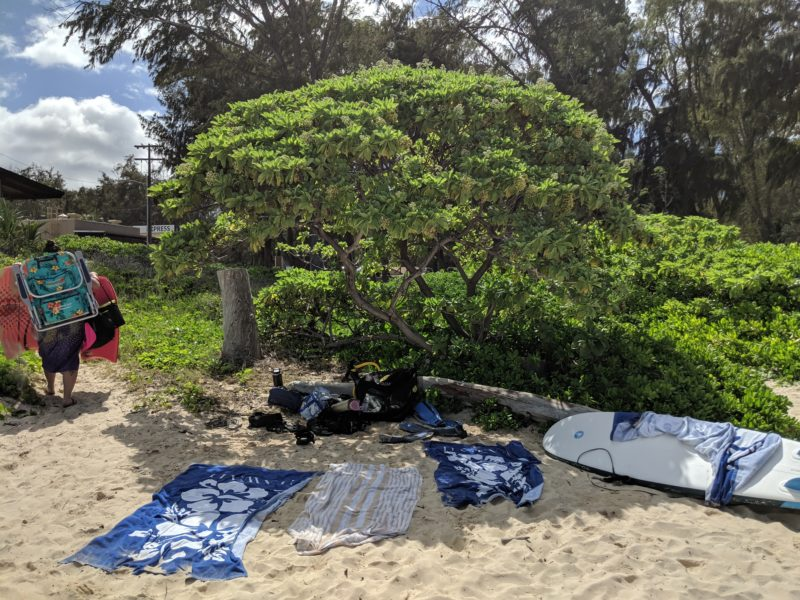 Shade at Bellows beach.