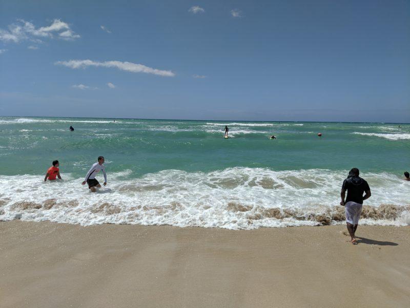 Surfing at White Plains Beach.