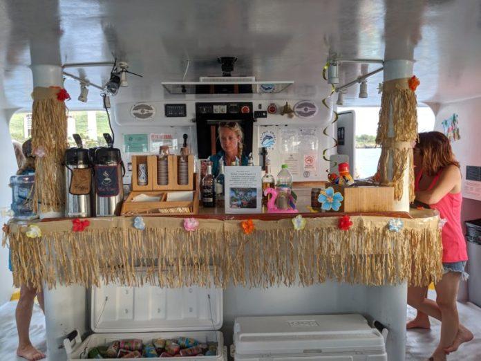 The bar in the cabin.