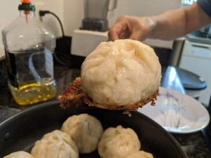 Take out the baozi when there's a nice brown crust.