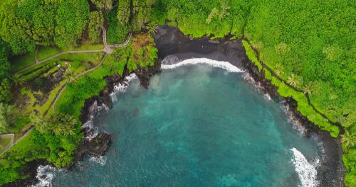 An aerial view of Waianapanapa State Park.