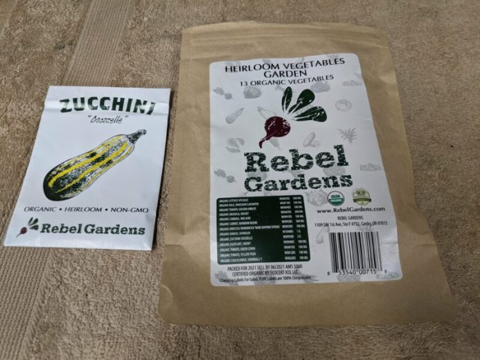 Cocozelle zucchini seeds from Rebel Gardens.