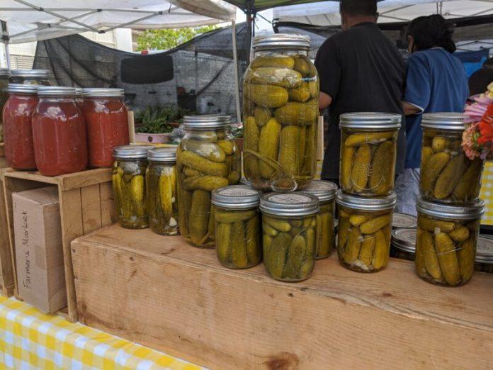 Bottled pickles at Mililani Farmers' Market.