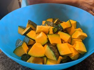 Cut the kabocha into fairly large cubes.