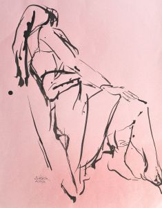 Pam Chadick Aloisa. Drawing Study 1. Brush and ink drawing on pastel paper.