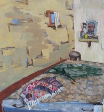 Pam Chadick Aloisa. Bedroom Shrine, Somalia. Acrylic on paper.