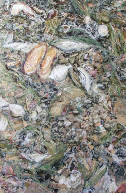 Pam Chadick Aloisa. Shells scattered. Oil on canvas.