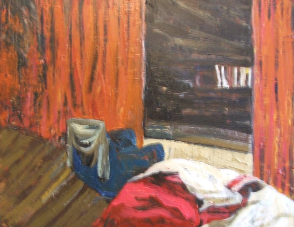 Pam Chadick Aloisa. View From Window At Night. Acrylic on board.