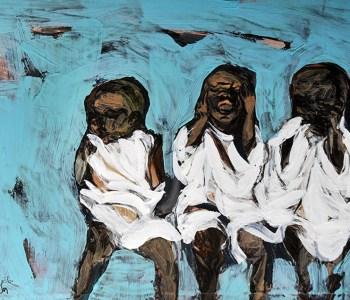 Pam Chadick Aloisa. See, Hear, Speak No Evil. Acrylic on paper.
