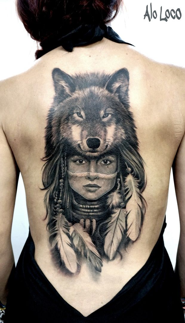 Wolf Native American Woman Tattoo