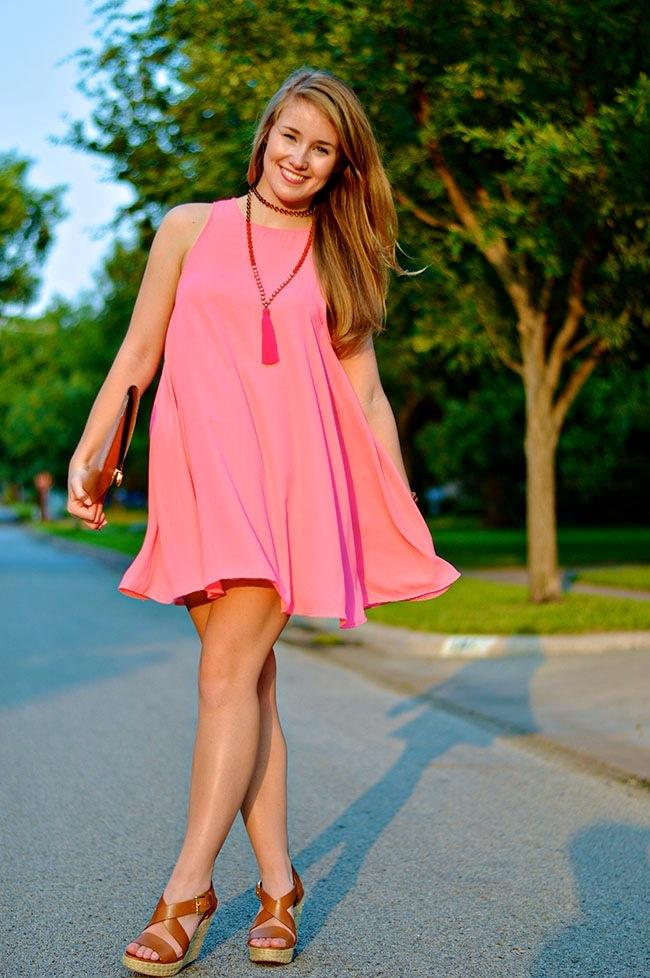 tassel necklace, pink tassel necklace, fall dresses, fall wardrobe, tassel trend, fall wedges