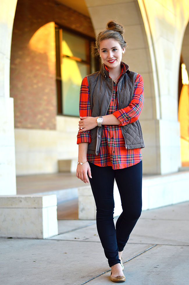 preppy, southern, preppy style, southern style, college girl, sorority girl, puffer vest, quilted vest, equestrian vest, j.crew puffer vest, j.crew quilted excursion vest, southern fashion blogger, how to dress preppy, plaid flannel, red plaid flannel