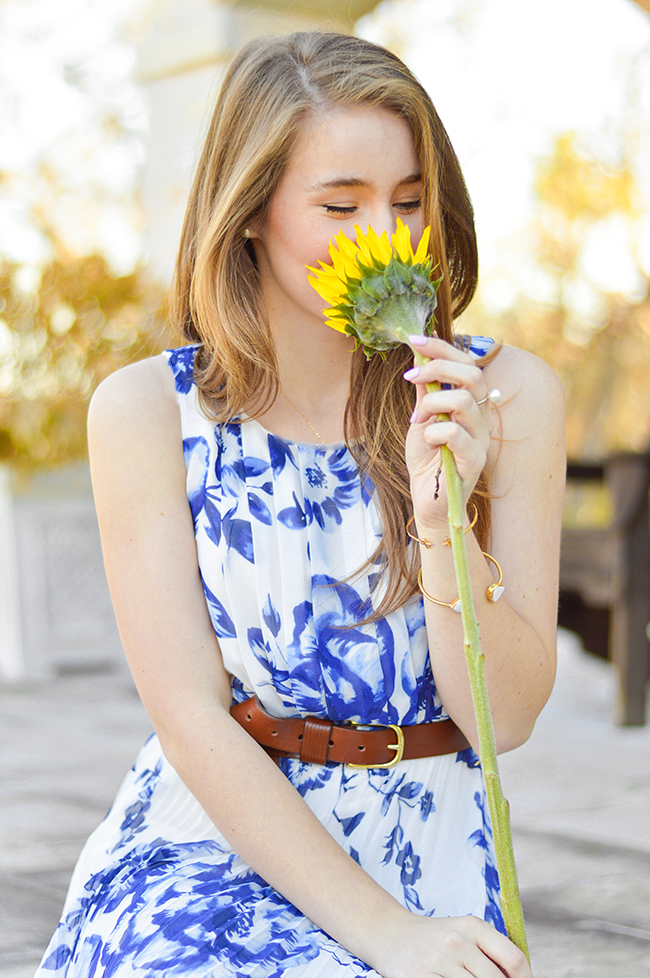 Floral Maxi Dress, Eliza J Dresses. Blue Maxi Dress, Southern Style, J.Crew Leather Belt, Pearl Ring, Kendra Scott Bangle, Gorjana Cross Over Cuff, College Girl Style, Sorority Girl Style, Sunflower Girl