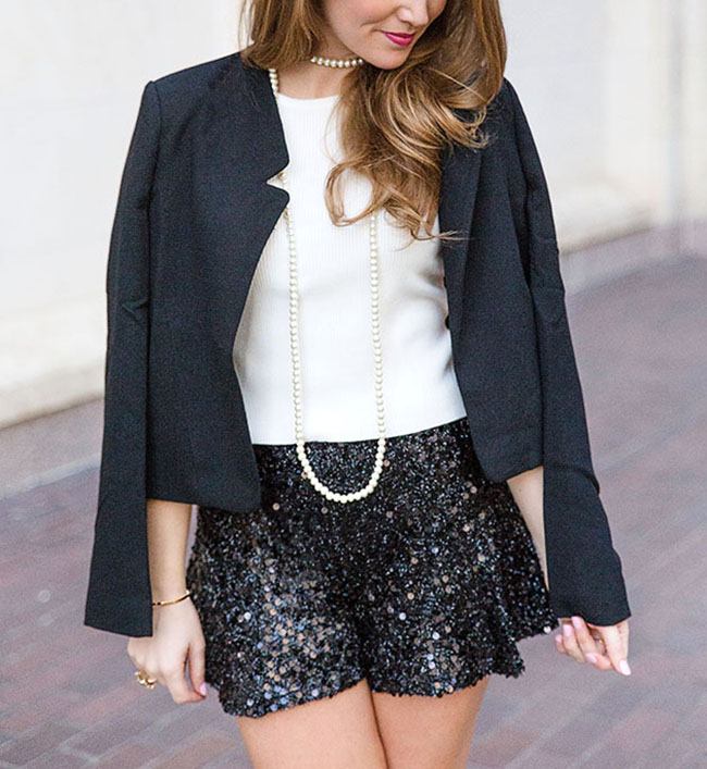 sequin shorts, pearl bracelet, black blazer, sorority girl style, necessary clothing, mod pink bobbi brown