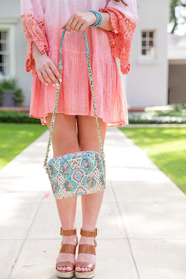 Kelly Wynne, Turquoise Purse, Turquoise Earrings, Ombre Dress, Pink Ombre Dress, Off the Shoulder Dress, Michael Kors Wedges, Posey Wedges, Sorority Girl Style, Southern Girl Style, Summer Dresses