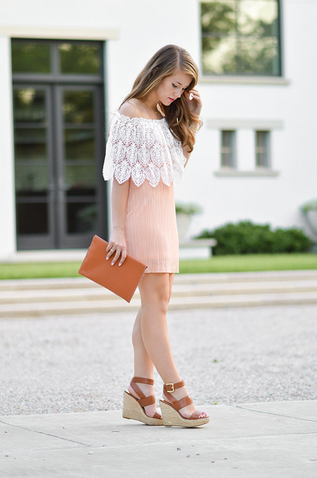 off the shoulder dress, lace dress, off the shoulder lace dress, rush dresses, rush dress, monogrammed clutch, southern belle, southern belle style, sorority girl style, georgia peach
