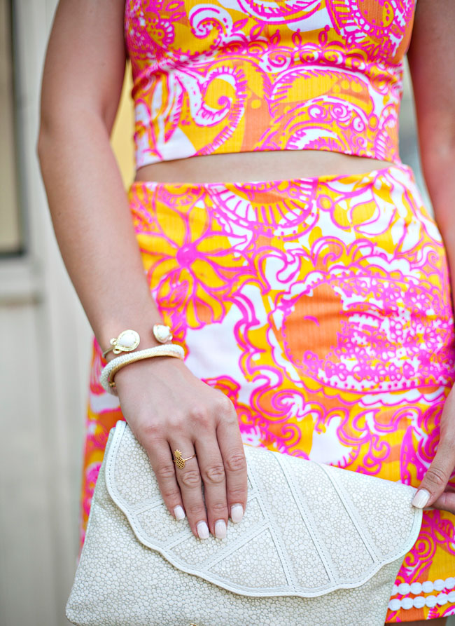 lilly pulitzer, lilly pulitzer crop top, lilly pulitzer matching set, lilly pulitzer pink and orange, southern girl, southern preppy style, college girl style, white tassel earrings, monogrammed jack rogers, sissys southern kitchen and bar, lilly pulitzer sea and be seen