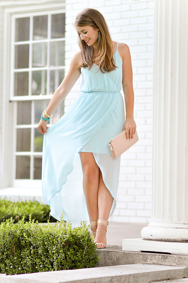tulip hem maxi dress, ice blue maxi dress, light blue maxi dress, nude ankle strap heels, turquoise bracelets, gold tory burch wrap bracelet, dallas bloggers, texas bloggers, southern bloggers, college bloggers, sorority girl