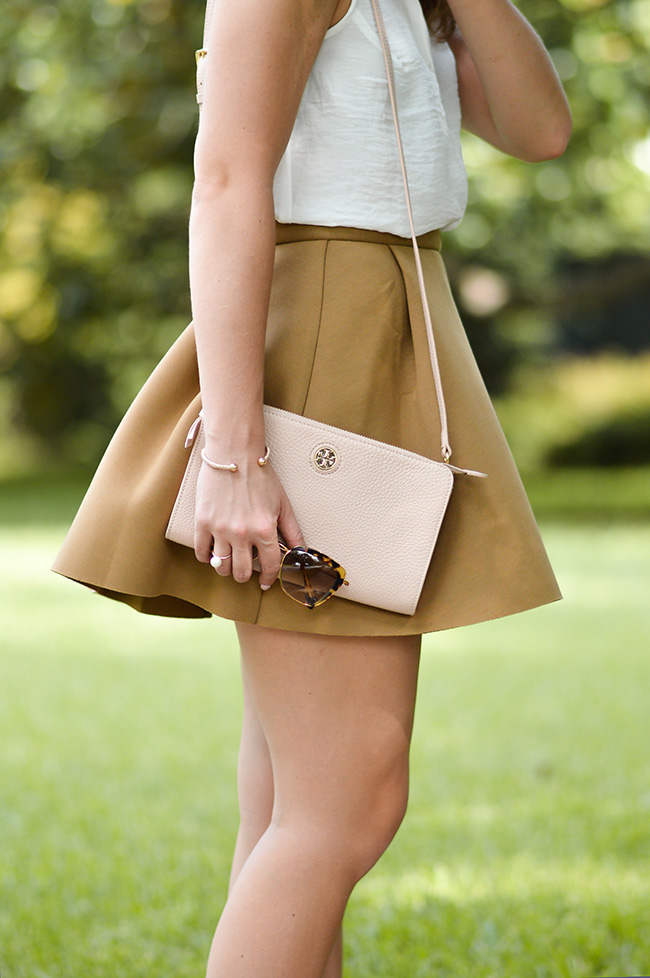 preppy girl, bow flats, bow loafers, miu miu sunglasses, tory burch crossbody, skater skirt, ruffle collar top, southern style, fall style, high waisted skirt