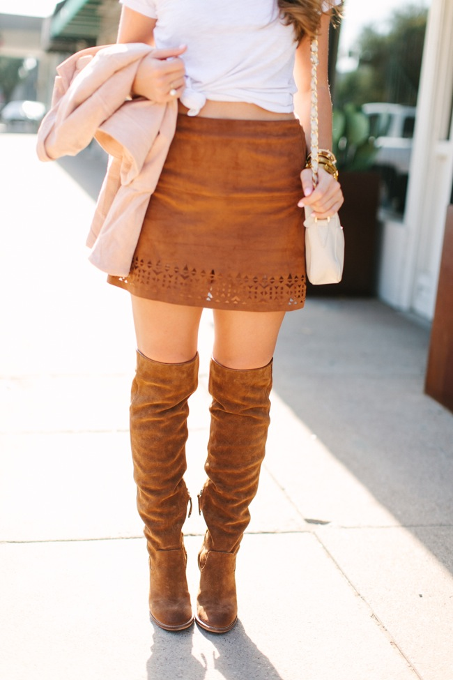 over the knee boots, suede boots, over the knee suede boots, suede skirt, suede jacket, pink jacket, kelly wynne, fall style, fall fashion
