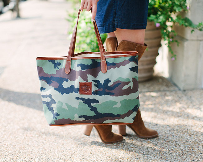 barrington tote bag, st. anne tote, camo tote, monogrammed tote, denim dress, over the knee boots, southern style, preppy style, bandana style, j.crew vest, daniel wellington watch, dallas blogger