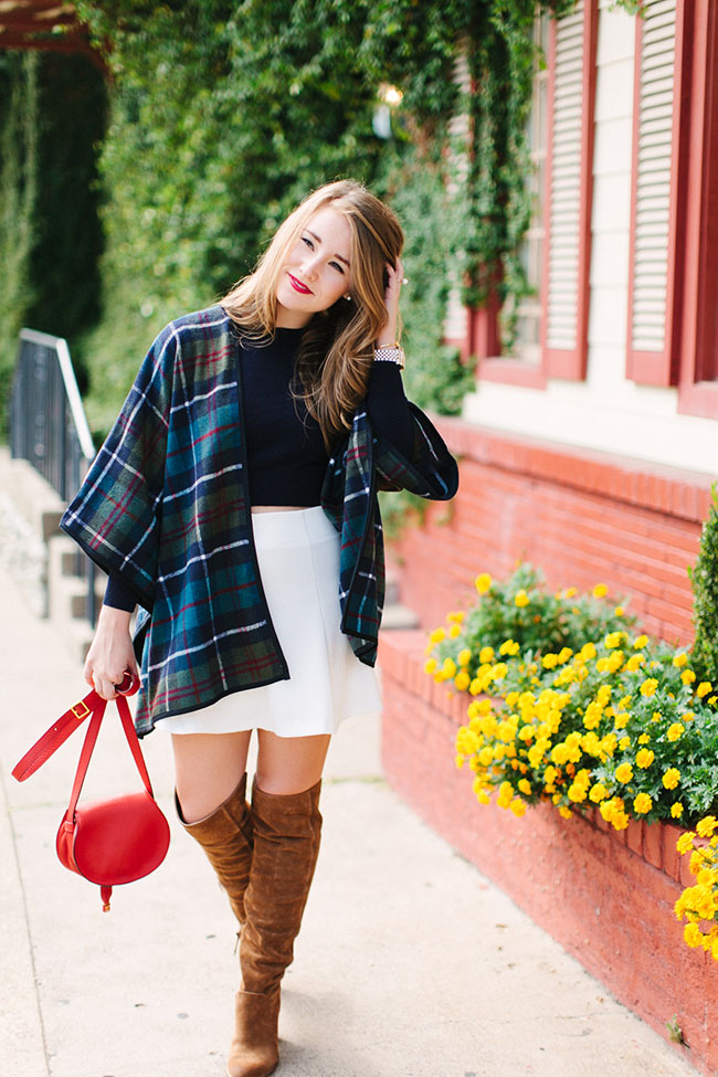poncho, plaid poncho, plaid wrap, chloe mini marcie crossbody, red purse, red crossbody, red chloe purse, suede over the knee boots, over the knee boots and skit, cropped sweater, southern style, preppy style, preppy bloggers, southern bloggers, fall fashion, mad for plaid, plaid cape