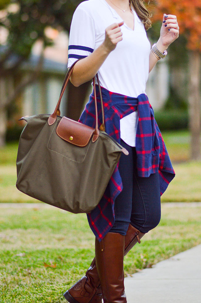 girl baseball shirt, flannel, riding boots, le pliage longchamp, longchamp bag, southern girl, riding boots, how to wear riding boots, how to style riding boots, texas girl