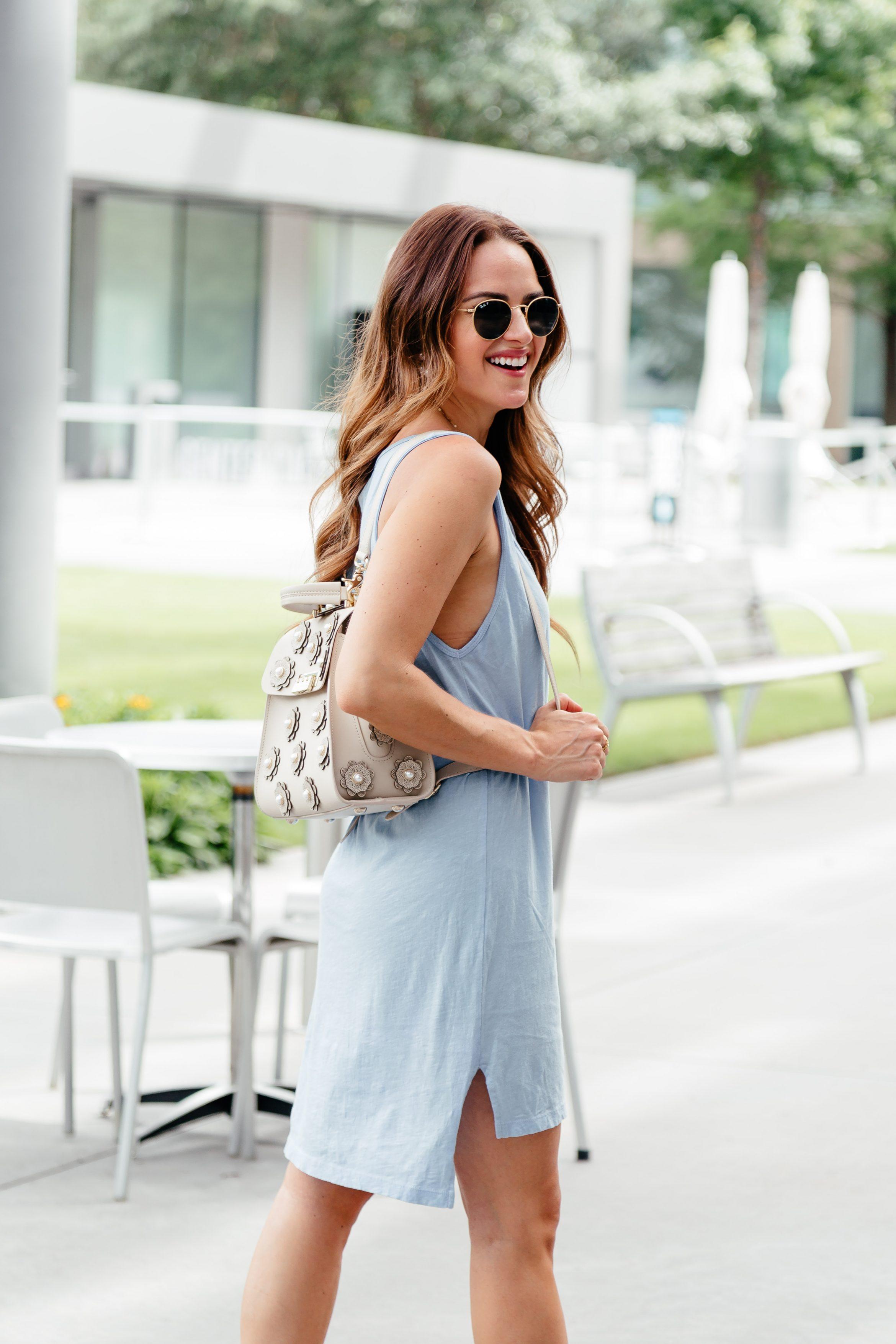 e6b1f905f5da Easy Summer Look  Tshirt Dress   Backpack with flat statement sandals via A  Lo Profile