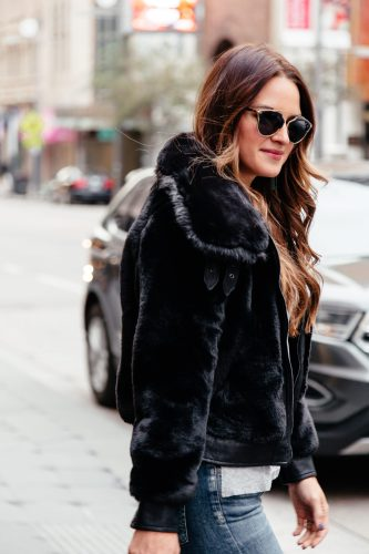Faux Fur Season via A Lo Profile featuring a great black bomber and tons of other options in all price ranges! Click through to shop.