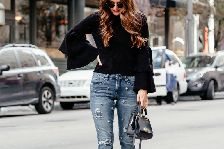 Put on your party pants: Today I'm talking all about the embellished denim trend, how to style a pair for the holidays, and rounding up my favs.