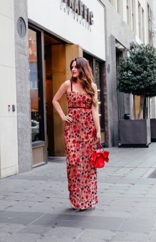 Red Floral Maxi dress via A Lo Profile