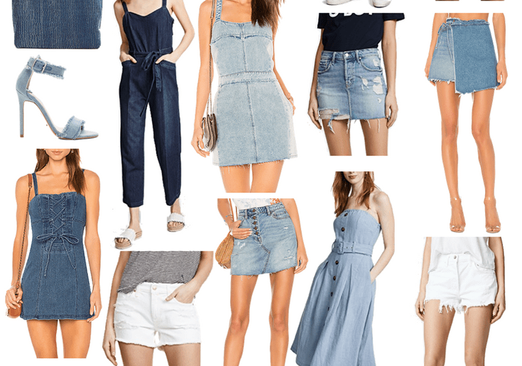 Friday Favorites: Denim for Spring. Dallas blogger sharing a collage of her top picks for spring denim including jeans, shorts, dresses, and accessories. #collage #denim #springdenim #denimforspring #springstyle