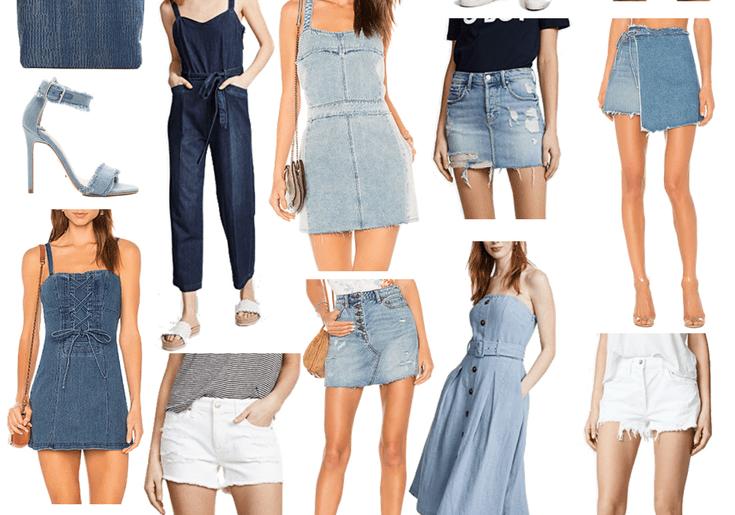 Friday Favorites: Denim for Spring. Dallas blogger sharing a collage of her top picks for spring denim including jeans, shorts, dresses, and accessories. #collage #denim #springdenim #denimforspring #springstyle