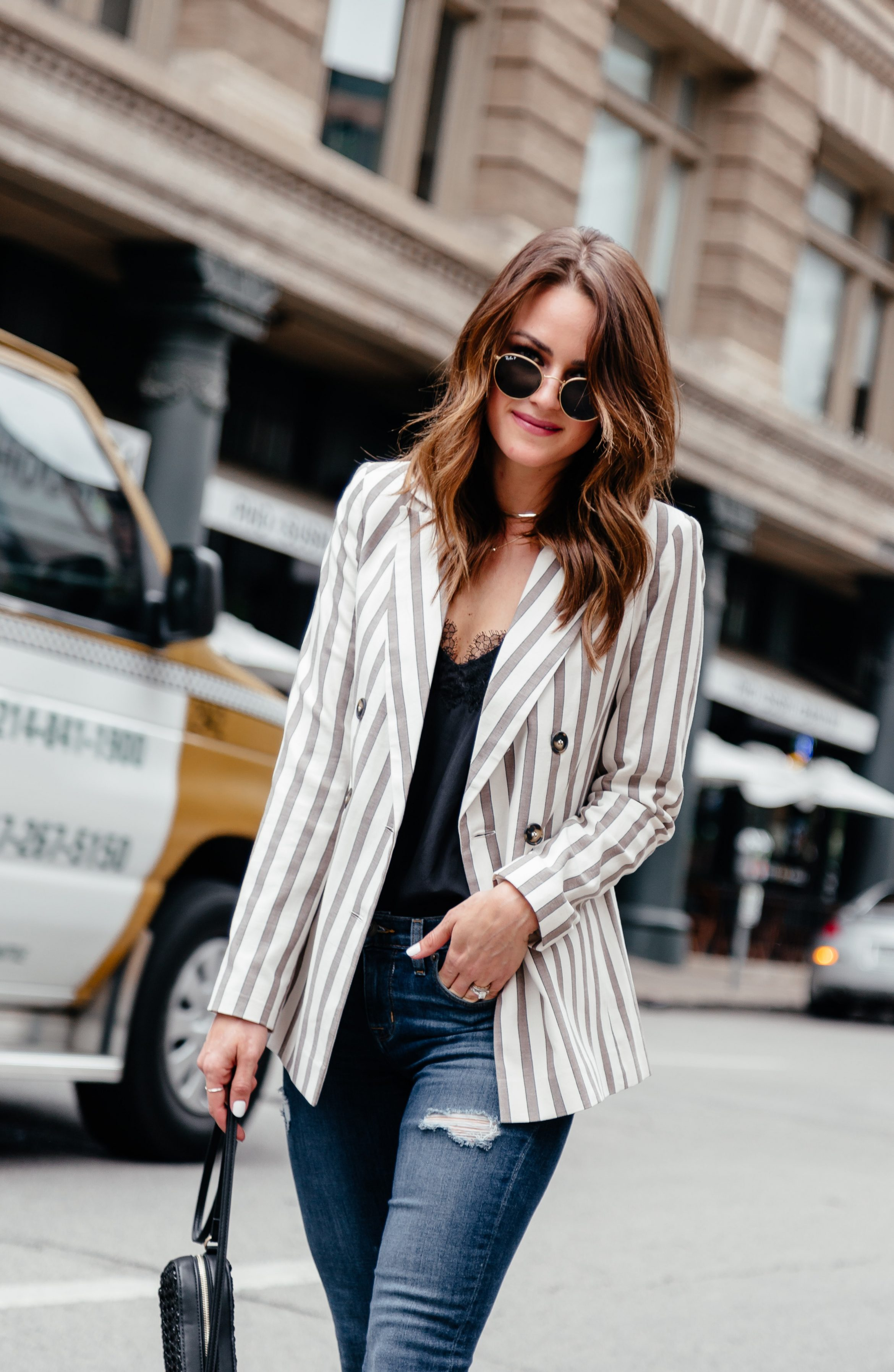 25f446a75c5 A Lo Profile wearing a white and tan striped Topshop blazer from Nordstrom  paired with Hudson