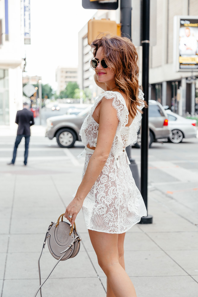 f791dfafb5c7 A Lo Profile wearing a white lace For Love and Lemons dress from eBay with a