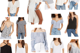 Dallas blogger A Lo Profile sharing a Friday Favorites collage of go to summer tops in affordable price ranges.
