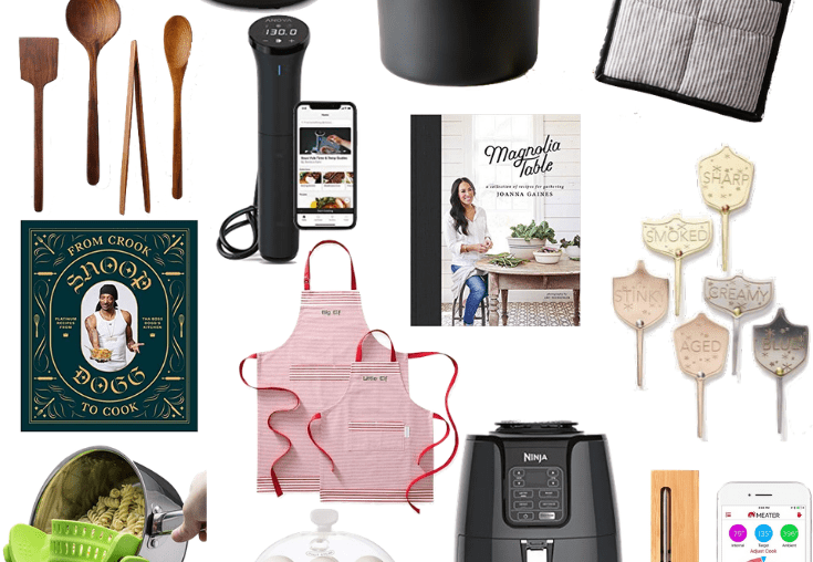 Sharing a collage full of great gifts for the foodie in your life featuring everything from cookbooks to utensils to appliances.