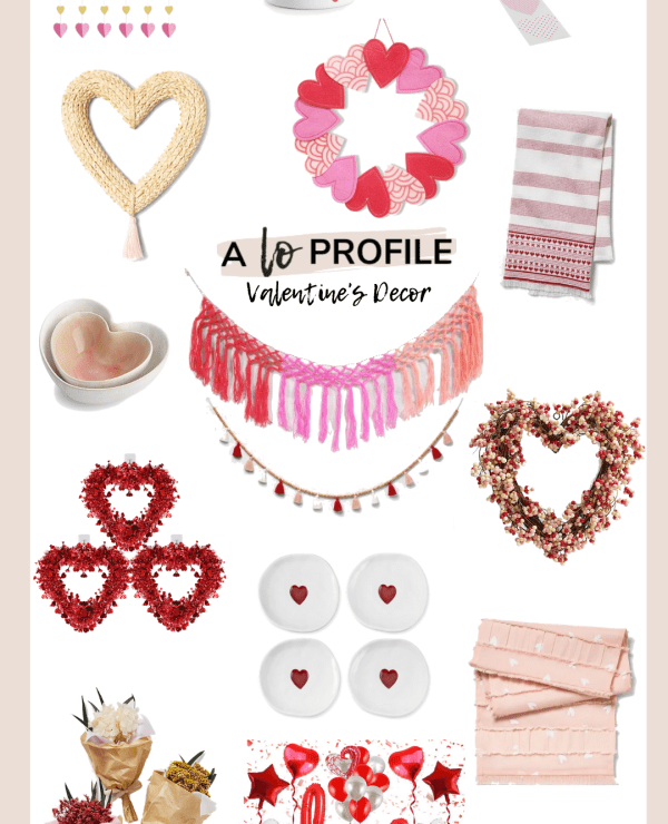 Sharing a collage of some cute Valentine's Day decor options including banners, serving pieces, wreaths, & more to help you get in the VDay spirit.