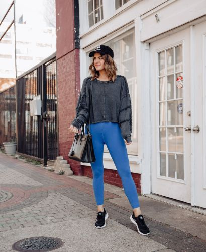 A Lo Profile wearing Free People FP Movement Good Karma Leggings, Crop Top, & Sweatshirt with Isabel Marant Hat & sharing 9 reasons to workout first thing in the morning