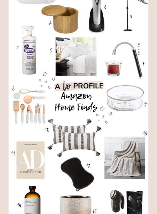 Sharing a collage of Amazon home finds including everything from kitchen utensils to diffuser oil to blankets & more with items in every price range.