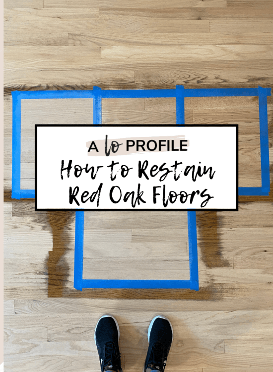 Sharing how to stain red oak to look like white oak & our full experience refinishing our red oak hardwood floors a lighter, whitewashed color.
