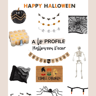 Sharing an easy to shop collage featuring the cutest Halloween decor with everything from bats to spiders to banners & lights.
