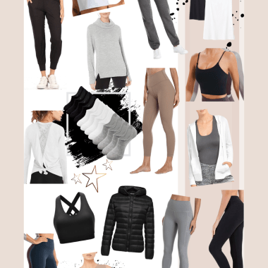 Sharing a roundup of affordable workout clothes featuring an easy to shop collage of Amazon activewear with options in every category.