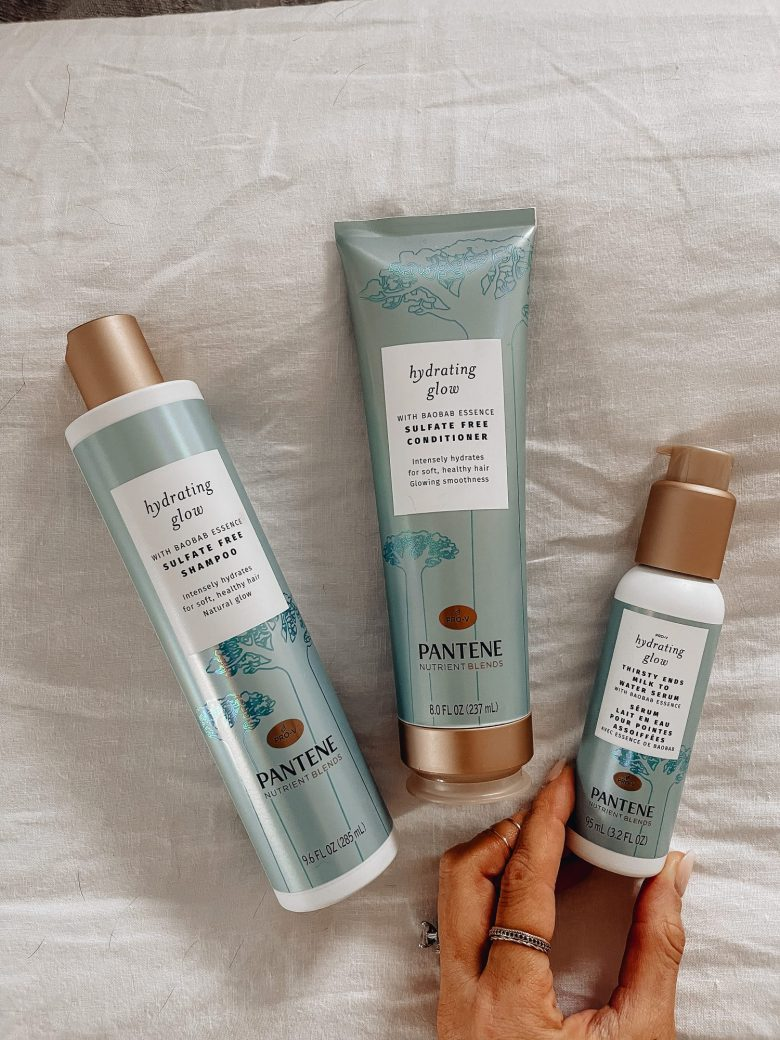 Sharing some beauty on a budget from Target featuring Pantene's Nutrient Blends Hydrating Shampoo, Conditioner, and Serum to help dry, damaged hair.