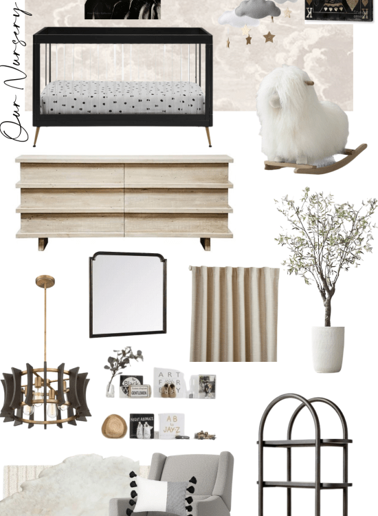 Sharing a peak at our nursery design with you all today including sources for everything & the overall vibe we are going for in the room.