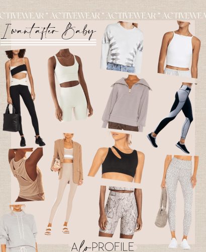 Sharing a roundup of the activewear I want after baby to help motivate me to get back in shape & prioritize fitness in my new mom routine.